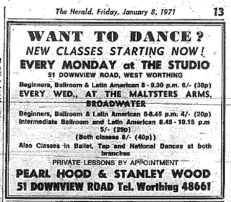 1971 Advert for classes at The Maltsters Arms, Broadwater